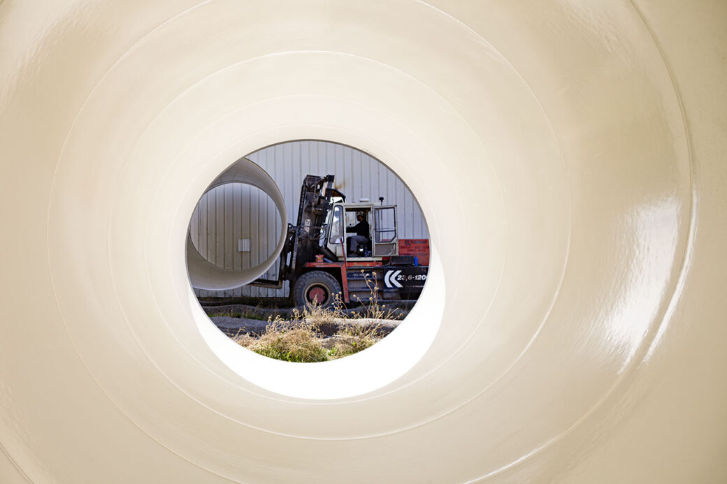 view through pipe of forklift with pipe