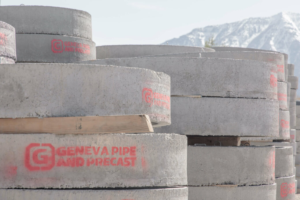 products rcp and precast concrete disks stack with red logo