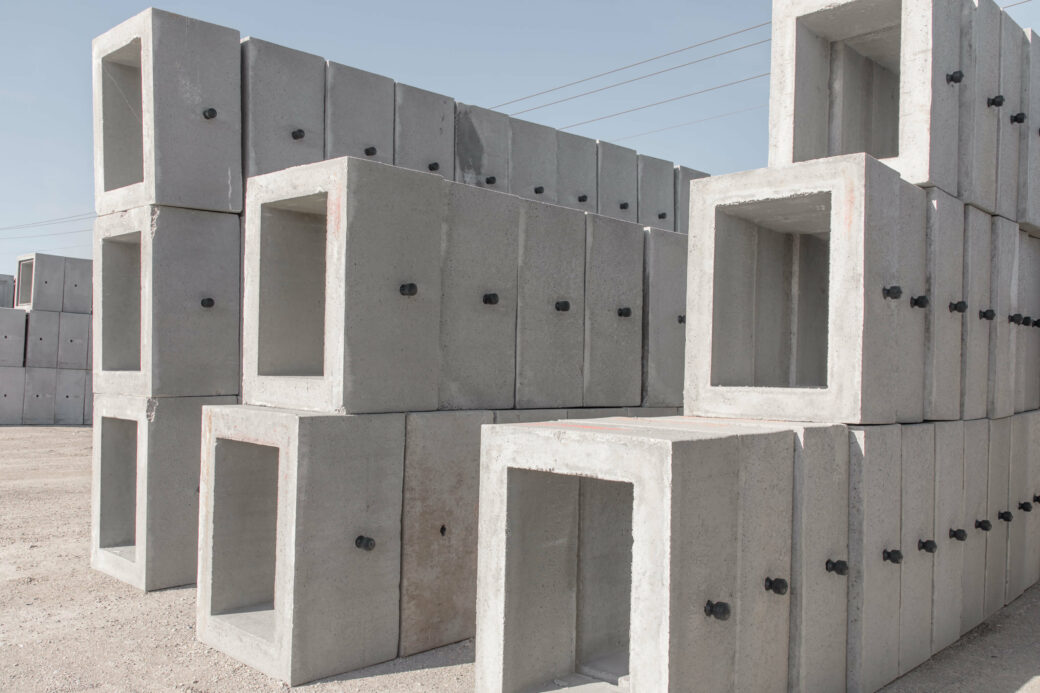 products rcp and precast concrete square boxes stacked front view