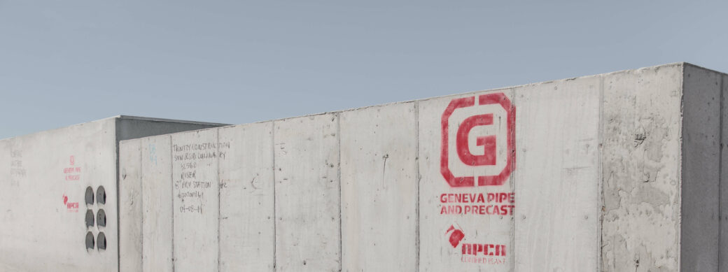 products rcp and precast other structures grey cement structure with red logo