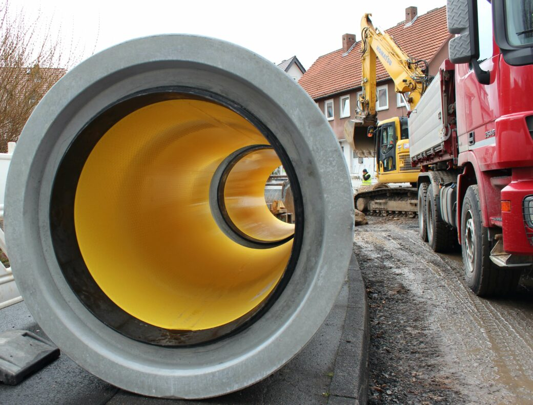 products rcp and precast perfect pipe yellow pipe on construction site