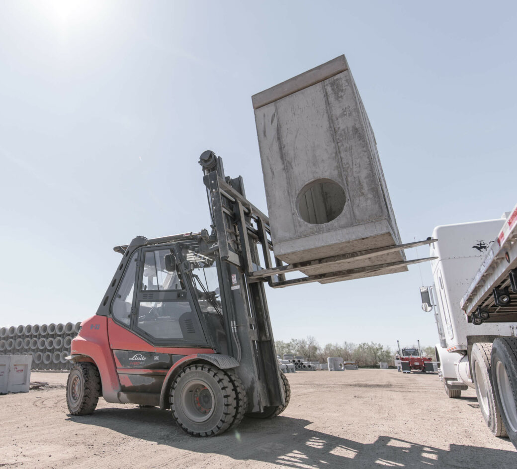 products rcp and precast vaults forklift lifting grey box