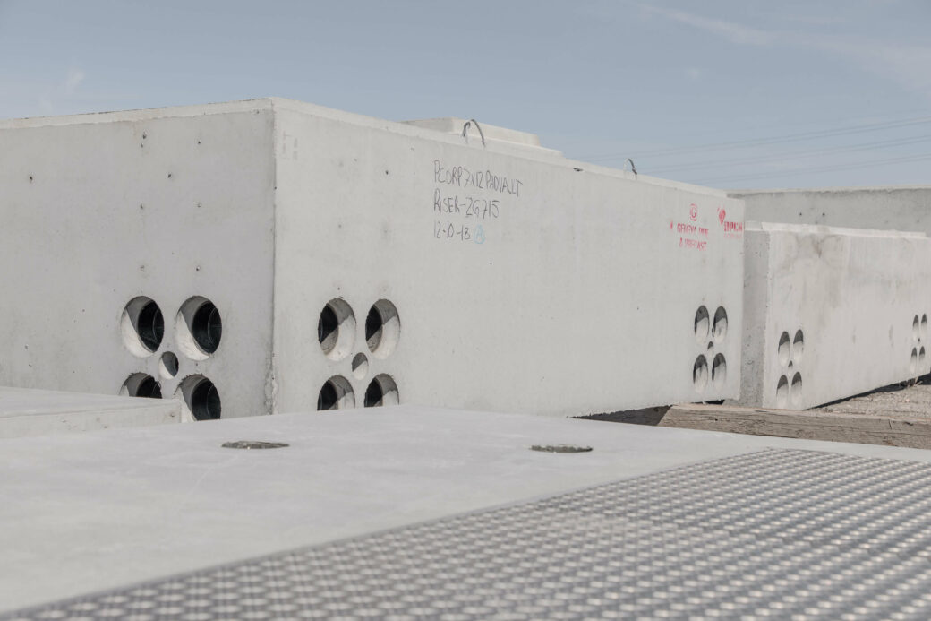 products rcp and precast vaults grey boxes with holes