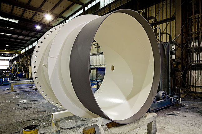 large white pipe in portland production facility