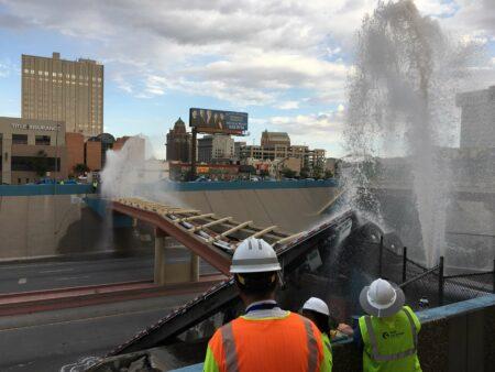 I-10 el Paso- water spraying from bridge