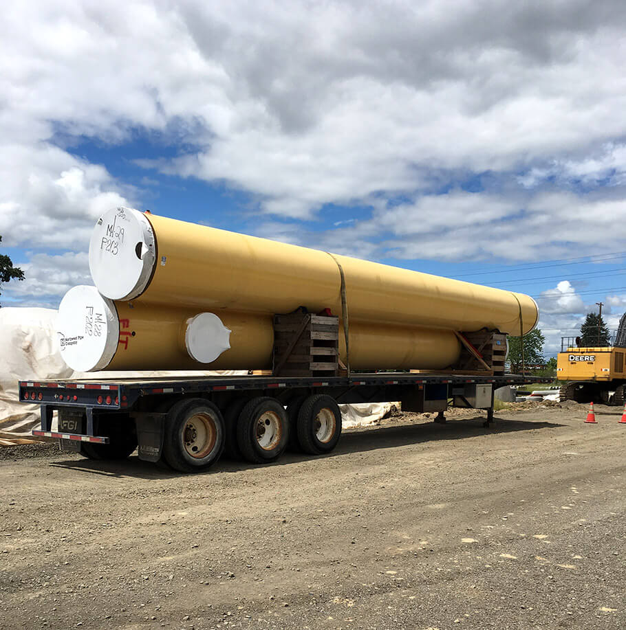 willamette water supply yellow pipes on truck