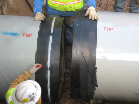Lap weld joint pipe installation