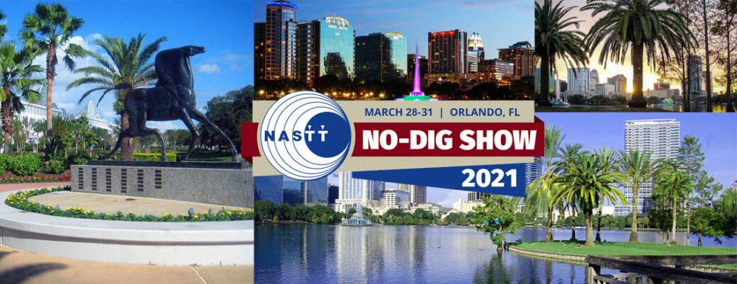 NASTT No-Dig 2021 Logo, Orlando skyline and waterfront