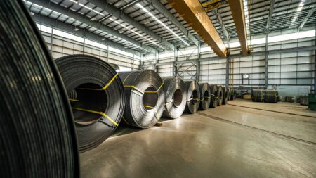 Steel Coils inside Manufacturing Plant