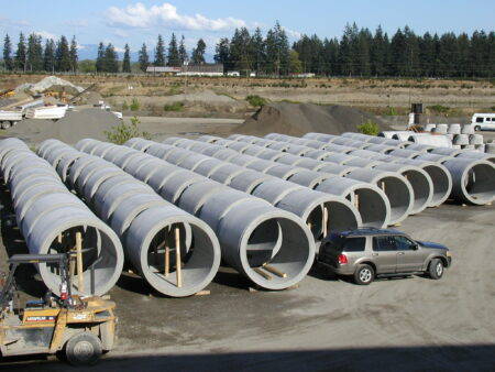 Rows of concrete jacking pipe awaiting installation