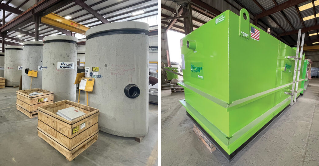 ParkUSA products at the plant, left to right: precast Pump Trooper (effluent pump station); steel-encased Grease Trooper (wastewater gravity interceptor)